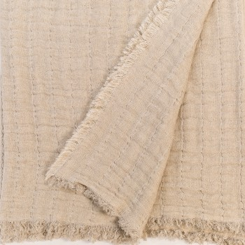 Anichini Aldona Linen Gauze Matelassé Oversized Bed Throws & Pillow Covers