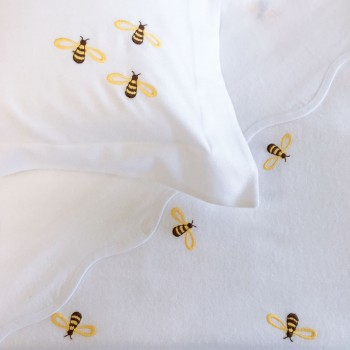 Anichini Bumblebee Embroidered Flannel Receiving Blanket
