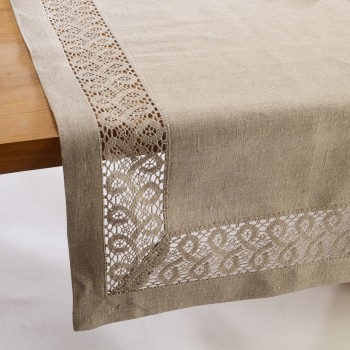 LACE INSERTION LINEN TABLE LINENS