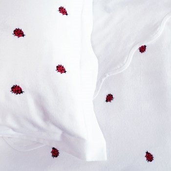 Anichini Ladybug Embroidered Flannel Crib Sheeting