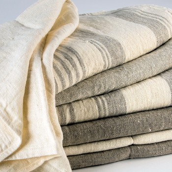 Anichini Olga Striped Flatweave Linen Towels
