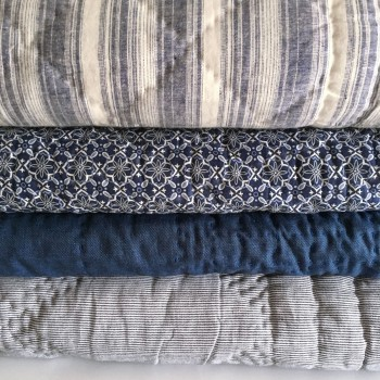 Anichini Pho Collection Handmade Indigo Batik Linen Quilts