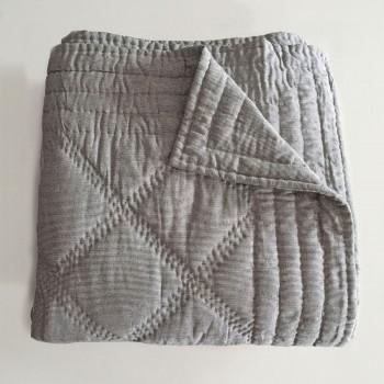 Anichini Pho Collection Handmade Indigo Ticking Stripe Linen Quilts