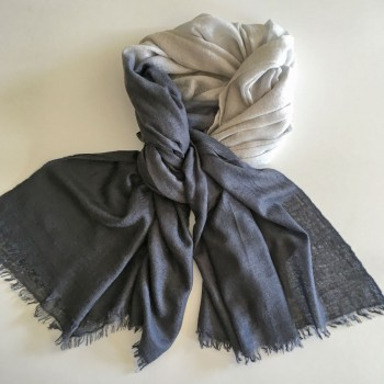 Anichini Space Ombre Handwoven Cashmere Stole In Charcoal/Smoke
