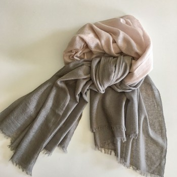 Anichini Space Ombre Handwoven Cashmere Stole In Haiku/Pigeon