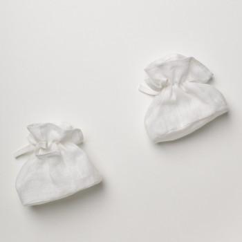 Anichini Bambini Handmade Linen Baby Booties