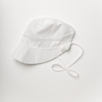 Anichini Bambini Hand Hemstitched Linen Baby Bonnet