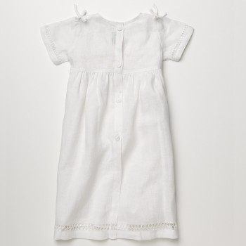Anichini Bambini Hand Hemstitched Linen Baby Dress
