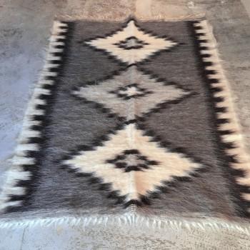 Anichini Grey Diamonds Brushed Natural Wool Rugs