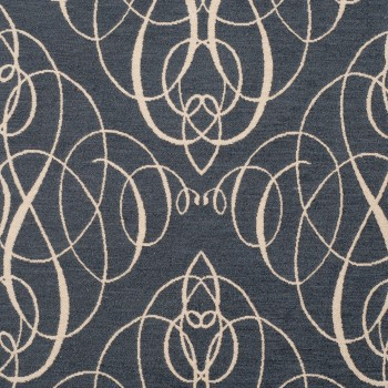 Anichini Mozart Chenille Fabric By The Yard In Antique Blue Ivory