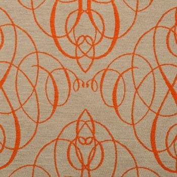 Anichini Mozart Chenille Fabric By The Yard In Orange Neutral