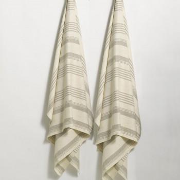 Anichini Olga Striped Flatweave Linen Bath Mats