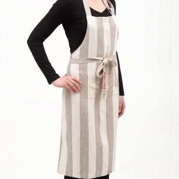 Anichini Striped Heavy Linen Bib Aprons