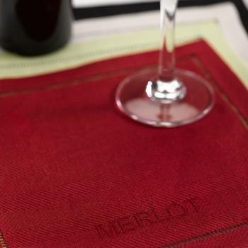 Anichini Vintner's Linen Cocktail Napkin Set