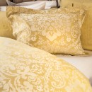 Anichini Lido Italian Linen Jacquard Sheeting in Pale Gold/Ivory