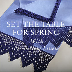 Set the table for spring with fresh new linens.
